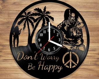Bob Marley Vinyl Record Wall Clock One Love Jamaica Reggae Music Perfect Art Decorate Home Style UNIQUE GIFT idea for Him Her (12 inches)