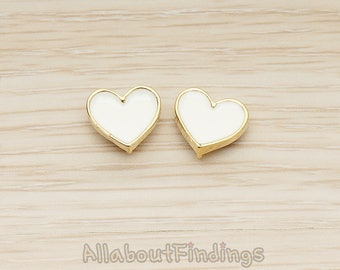 ERG399-01-G-WH // Glossy Gold Plated White Epoxy Painted Simple Heart Earpost, 2 Pc