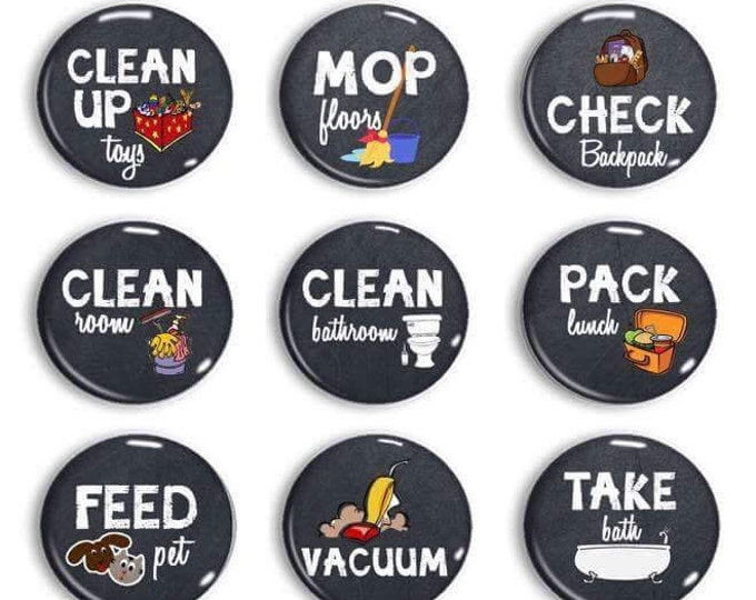 Chalkboard Chore Magnets - Chore Chart Chores - Kids Jobs - Command Center - Daily Reminders - Exercise Routine - To Do Done List - Magnets