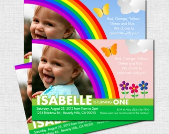 RAINBOW INVITATIONS Birthday Party (print your own) Personalized
