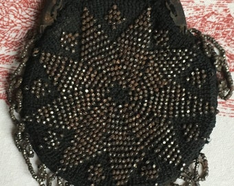 French Antique Black and Silver Beaded Evening Purse/Bag 1890s With Metal Clasp Beautiful French Item Ideal Christmas Gift