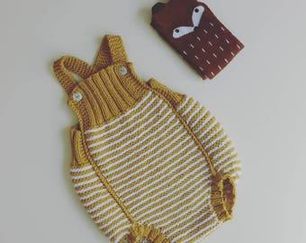 white stripes cotton merino Knit Baby romper -  handmade onesies  - newborn romper - baby overalls  - baby photo props - newborn shots