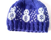 Snowman Winter Hat - Ready to ship infant hat - Blue infant hat - Handmade Knitted Hat