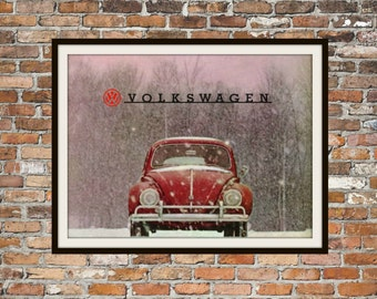 Volkswagen Beetle VW Red Beetle Snow -  Rendition of Advertisement - Vintage Advertising - Vintage Volkswagen - Print Drawing Art Item 0142