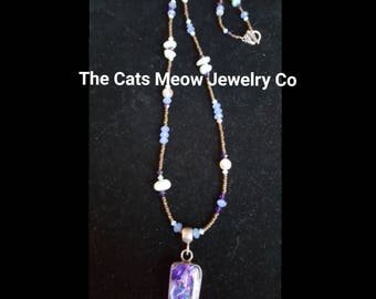 Beaded Necklace with Silver Dichroic Glass Pendant