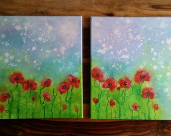 POPPIES WELCOME a new DAY acrylic on canvas with certificate of authenticity