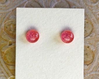 Dichroic Glass Earrings, Petite, Salmon Pink  DGE-1347