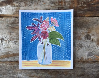 Original Watercolor Gouache painting of Garden Flowers in a Mason Jar