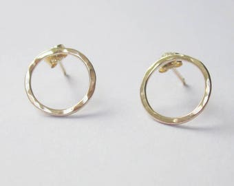 Hammered 9ct gold circle studs, Contemporary Scandinavian design gold earrings, uk shop