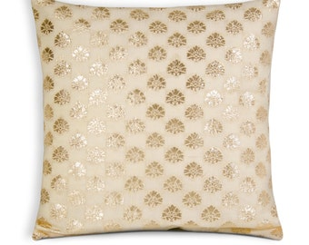 Ivory and Silver Silk Pillow Cover- Envelope Style Silk Cushion Cover - Handmade Chanderi Silk Pillow For Weddings andParty
