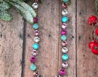 Pacific delight, Swarovski crystal 8mm necklace, Fuchsia and pink crystals, choker necklace, Shellyanns Crystals.