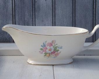 Vintage Floral Gravy Boat/China Gravy Boat Unmarked