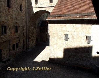 Ancient Castle, Burghausen Castle, Bavaria, Germany, Photo Print, abstract Photo,