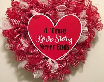 Valentine's Day Heart Mesh Wreath