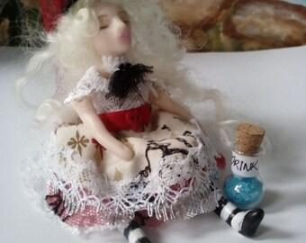 Alice in Wonderland OOAK Art Doll ' Drink me Alice'