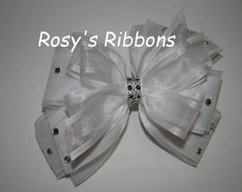 Gorgeous white flower girl, wedding hair bow, First communion bow