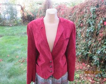 Womens Leather Jacket / Suede Leather Jacket / Octoberfest / Trachten / Maroon Leather Jacket / Size EUR44 / UK16