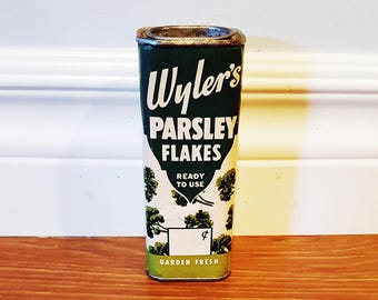 Vintage 1940s Wyler's Parsley Flakes Advertising Tin, Wyler & Company Chicago
