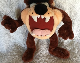 Vintage Large Tazmanian Devil Plush with adjustable wire arms and legs - Looney Tunes C 1996 - Ace Toys