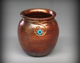 Raku Pot in mostly Copper Metallic with Copper Wire Spiral and Turquoise Bead