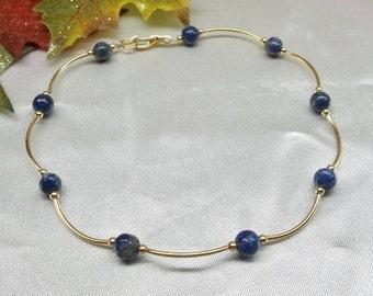14k Gold Blue Lapis Anklet Blue Lapis Ankle Bracelet Blue Lapis Lazuli Anklet 14k Gold Filled or Plate BuyAny3+Get1 Free