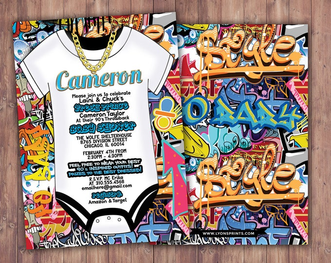 Fresh Prince, Baby Shower, Hip Hop, Swagger, 90s, backstage pass, Vip invitation, birthday invitation, Graffiti, birthday, DJ, 90s party