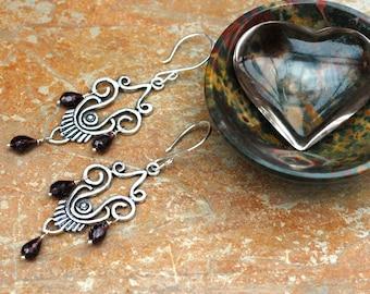 Garnet Earrings; Sterling Silver Chandelier Earrings;  Long Garnet Earrings; Exotic Earrings; Gemstone Earrings; Elegant