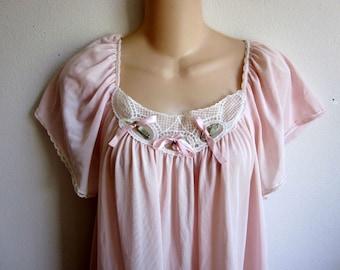 Silky nylon nightgown lace bodice L XL