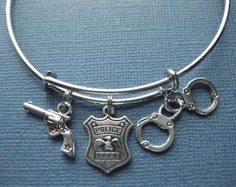 Police Bangle - Police Charm Bracelet - Police Jewelry - Charm Bracelet - Bangle - Police Charm Bangle -- B107
