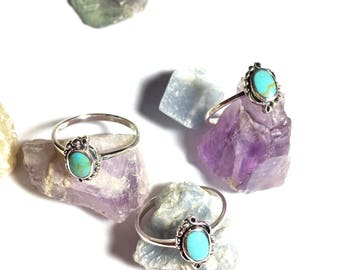 Colors of the Wind Turquoise Stacker Ring. Sterling Silver Stacker Ring. Stacking Delicate  ring . Silver.