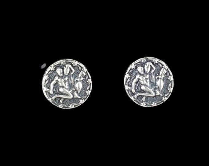 Gold Zodiac Stud Earrings Aquarius Made to Order