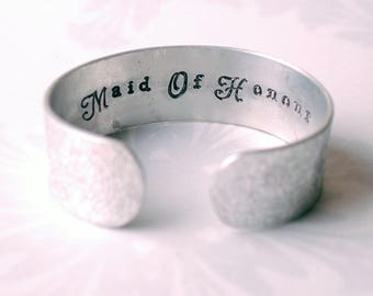 Maid of Honour gift, Silver coloured cuff, wedding present, personalised wedding gift, handstamped wedding day, gifts for her, floral design