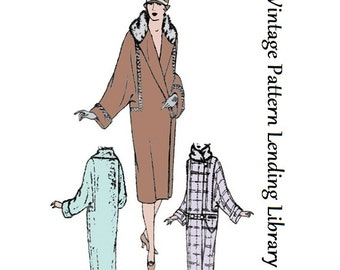1926 Ladies Coat With Dolman Sleeves - Reproduction Sewing Pattern #Z1078