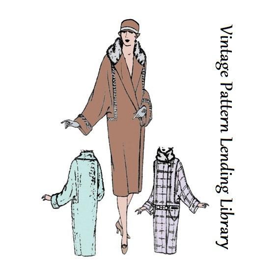 1926 Damen Mantel mit Fledermausärmeln Reproduktion