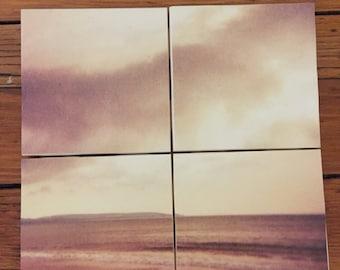 Sky and Beach Coasters- Set of 4 Ceramic Coasters