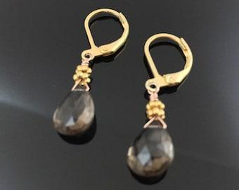 Smoky quartz dangle earrings