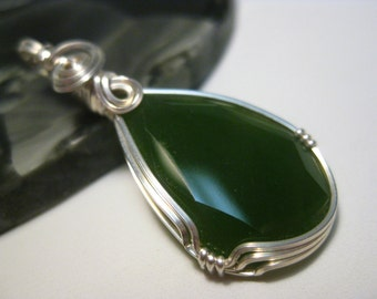 Canadian Jade Pendant in Sterling Silver