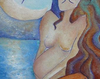 FREE SHIPPING art.Framed painting.Motherhood art. Mermaid.Pregnant mermaid.Pregnancy art.Pregnant woman.Little mermaid.Small painting.Mother