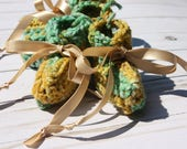 Green and Yellow  Preemie Baby Booties - Crochet Preemie Booties - Gender Neutral Booties - Preemie Gift