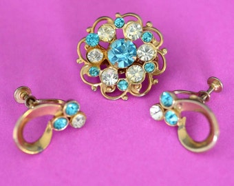 Rhinestone Earrings and Brooch Set - Vintage Costume Jewelry