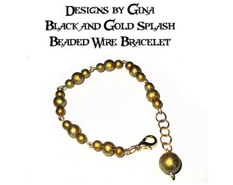 Black and Gold Splash Beaded Gold Tone Wire Bracelet DG0037B1 Handmade Handcrafted Original Designs by Gina