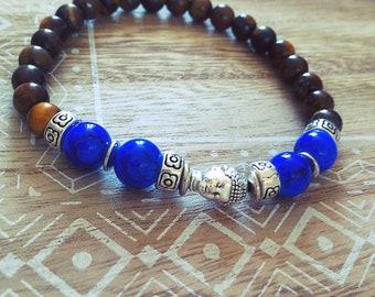 Elastic, Brown, blue, silver bracelet, boho, gift, Tiger eye, black, Bohemian, made with love