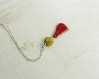RED LEMON || Wooden Yellow Geometric Bead and Tassel Necklace || Wood Charm with Silky Tassel || Layering Necklaces || Canadian Seller