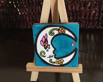 Mini Moon Paintings on easel