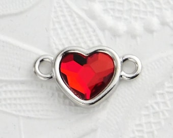 Red Heart Link_20x12mm_Swarovski Heart_Light Siam Red_Faceted_Love