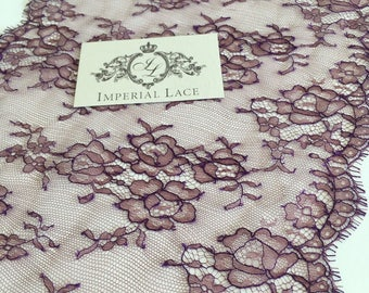 Cardovan with lilac thread lace trim, French Lace, Solstiss lace, Lingerie lace trim, Bridal Chantilly lace, Garter lace by yard, MK00249