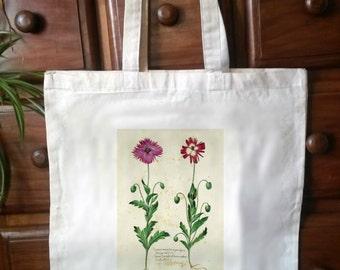 Cotton Eco Friendly shopper tote bag,  Victorian botanical print - No.3