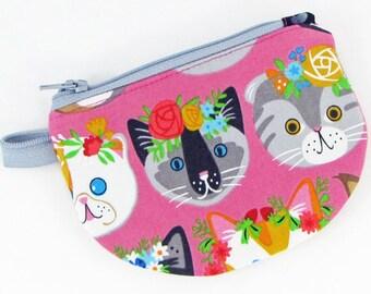 Cats, change purse, credit card case, business card holder, womens change purse, credit card wallet, mini wallet, minimalist wallet