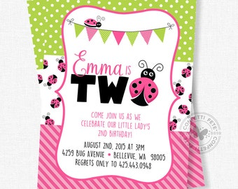 Ladybug Birthday Invitation, Ladybug Party Invite, Pink Ladybug Birthday, Ladybug Birthday Party, Ladybug Theme, Girl Birthday Invitation