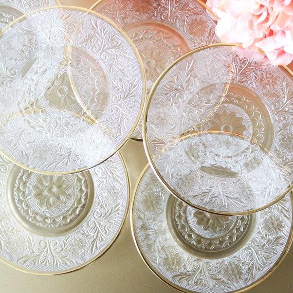 Vintage Glass Dessert Plates With Gold Rims Clear Glass Plates Clear Plates Vintage Glassware Wedding Gift Gold Plates Gift For Her & Vintage Glass Dessert Plates With Gold Rims Clear Glass